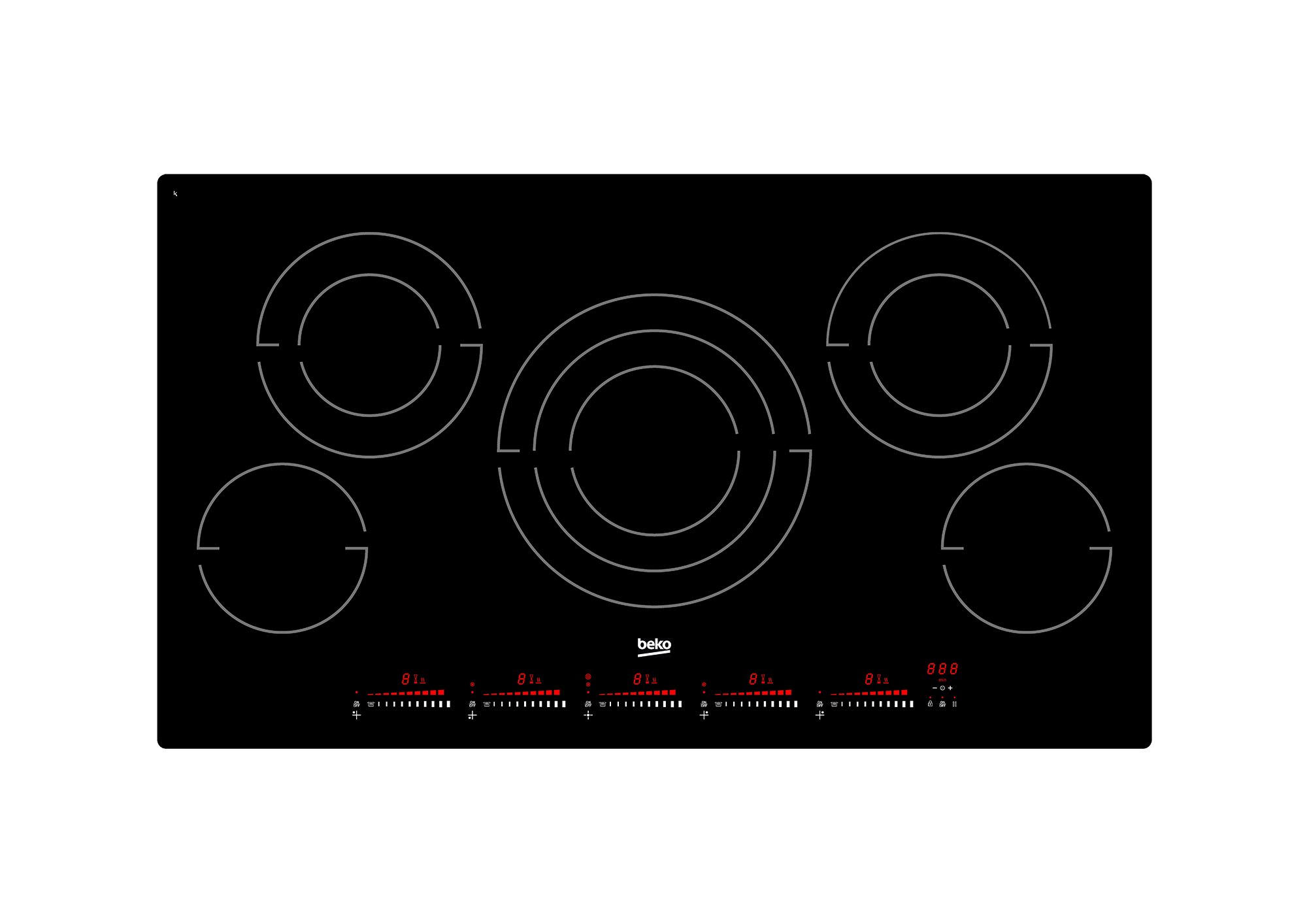 """36"""" Built-In Electric Cooktop with 5 Burners and Touch Control"""