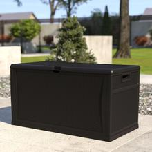 See Details - 120 Gallon Plastic Deck Box - Outdoor Waterproof Storage Box for Patio Cushions, Garden Tools and Pool Toys, Black