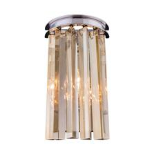 Sydney 2 light Polished nickel Wall Sconce Golden Teak (Smoky) Royal Cut Crystal
