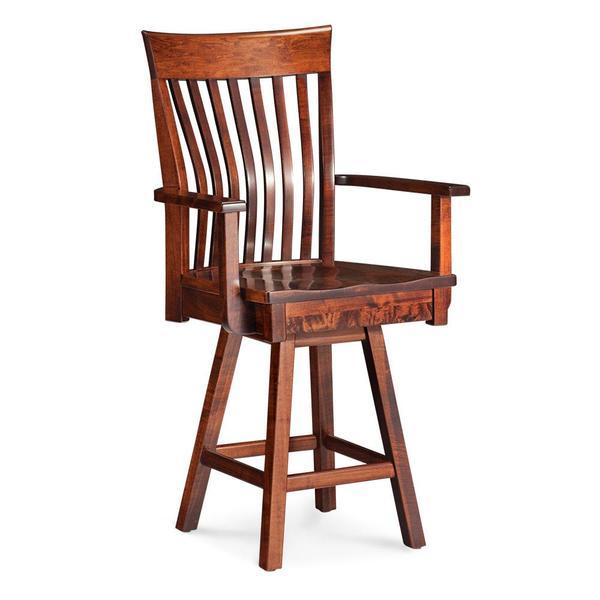 "See Details - Loft II Swivel Arm Barstool, 30"" Seat Height / Fabric Cushion Seat"