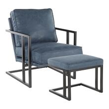 Roman Lounge Chair + Ottoman - Black Metal, Blue Pu