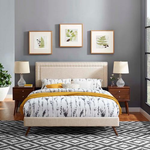 Virginia Queen Fabric Platform Bed with Round Splayed Legs in Beige