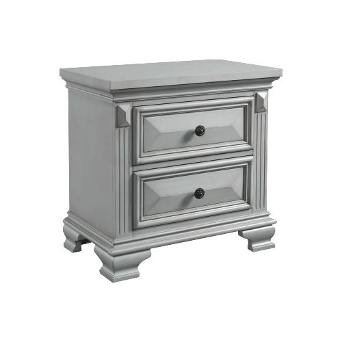 Calloway 2-Drawer Nightstand in Grey