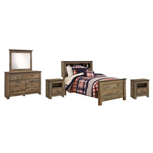 Product Image - Twin Bookcase Bed With Mirrored Dresser and 2 Nightstands