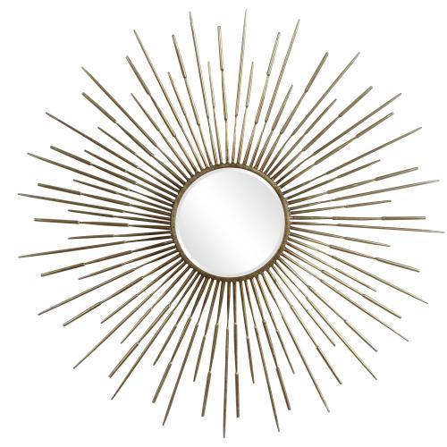 Golden Rays Round Mirror