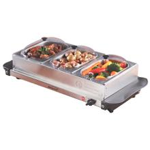 See Details - Brentwood BF-315 4.5 Quart 3 Pan Buffet Server and Warming Tray, Brushed Stainless Steel