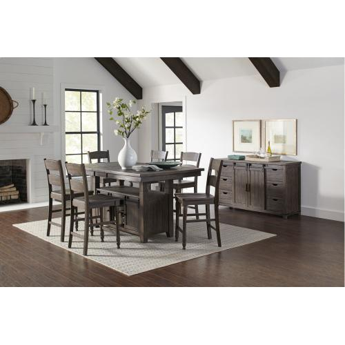 Madison County High/low Table With 6 Stools - Barnwood