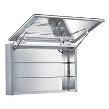 Medicinehaus Vertical Opening, Single Mirrored Door, Anodized Aluminum Surface Mount Medicine Cabinet .