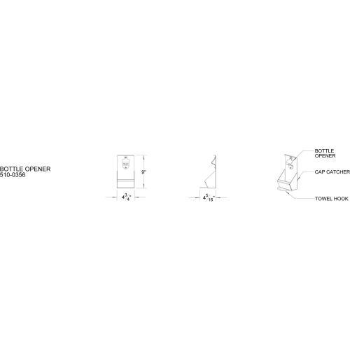 Alfresco - BOTTLE OPENER W/ CAP CATCH & TOWEL RACK