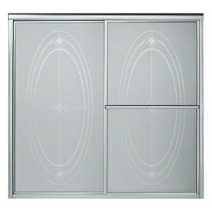 """Deluxe Sliding Bath Door - Height 56-1/4"""", Max. Opening 59-3/8"""" - Silver with Ellipse Glass Pattern Product Image"""