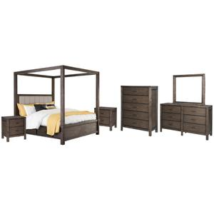Queen Canopy Bed With 4 Storage Drawers With Mirrored Dresser, Chest and 2 Nightstands