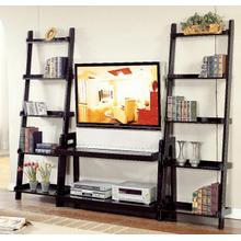 See Details - Black Ladder TV Stand - 2 Shelves