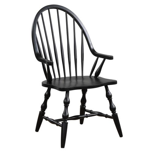 Windsor Dining Chair with Arms - Antique Black