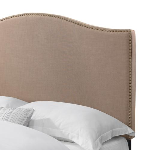 Camelback Upholstered Queen Bed in Soft Latte Brown