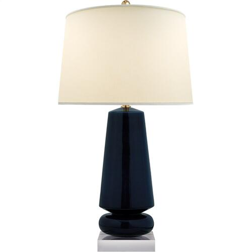 Visual Comfort CHA8670DM-PL E. F. Chapman Parisienne 35 inch 150 watt Denim Porcelain Table Lamp Portable Light, E.F. Chapman, Medium, Natural Percale Shade