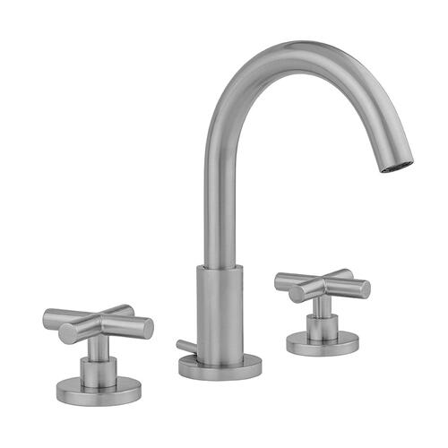 Unlacquered Brass - Uptown Contempo Faucet with Round Escutcheons & Contempo Slim Cross Handles