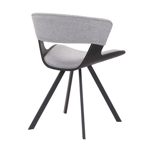 Ulric Black Brushed Wood and Grey Upholstered Dining Room Accent Chair