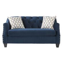 See Details - Moselle Transitional Modern Velvet Tufted Loveseat with Nainhead Trim, Blue