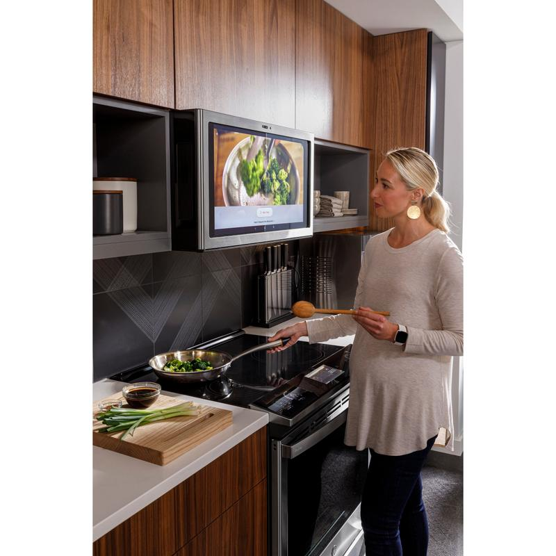 """GE Profile™ 30"""" Smart Slide-In Fingerprint Resistant Front-Control Induction and Convection Range with No Preheat Air Fry"""