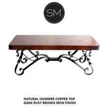 Hammer Copper Rectangular Cocktail - Coffee Table - Natural Hammer Copper / Dark Rust Brown