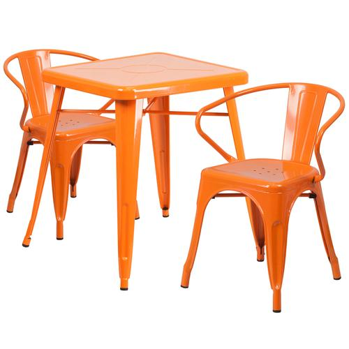 """Product Image - Commercial Grade 23.75"""" Square Orange Metal Indoor-Outdoor Table Set with 2 Arm Chairs"""