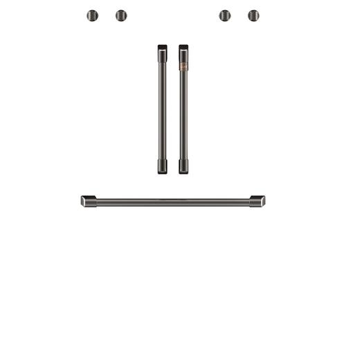 """Product Image - Café™ 2 French-Door Handles; 1 - 30"""" Handle; 4 Knobs - Brushed Black"""