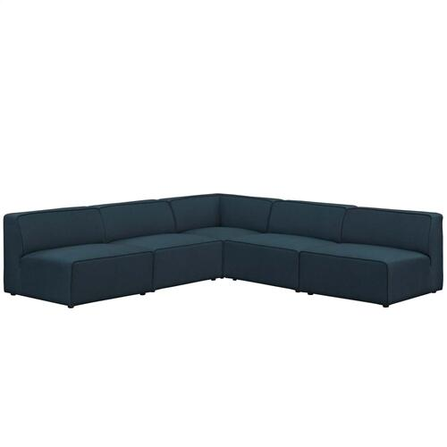 Mingle 5 Piece Upholstered Fabric Armless Sectional Sofa Set in Blue