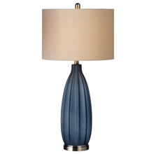 Oversized Frosted Blue Ribbed Table Lamp. 100W Max. 3 Way Switch.