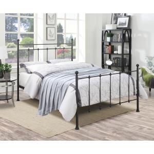Shaker Style Queen Metal Bed in Iron Black