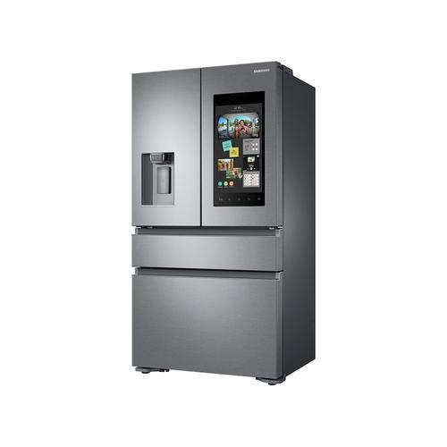 Samsung - 22 cu. ft. Family Hub™ Counter Depth 4-Door French Door Refrigerator in Stainless Steel