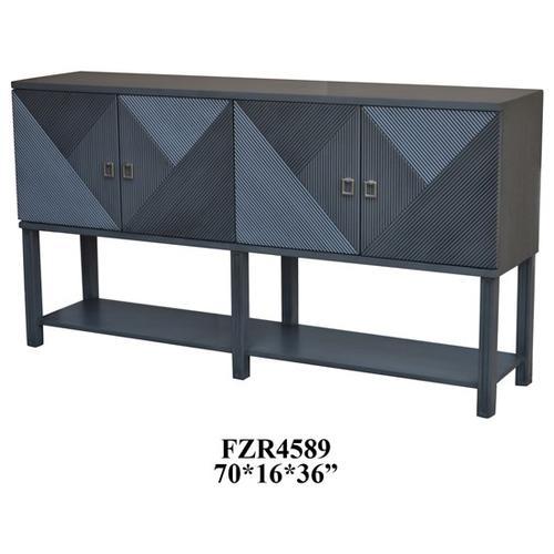 Crestview Collections - Berkshire 4 Door Geometric Design Grey Tambor Sideboard