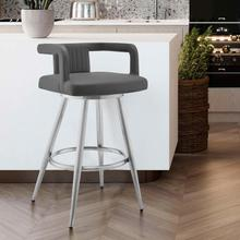 "Gabriele 30"" Gray Faux Leather and Brushed Stainless Steel Swivel Bar Stool"