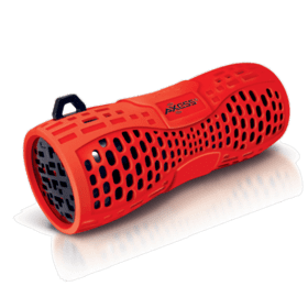 Portable Water Resistant Bluetooth® Loud Speaker System, Speakerphone to Answer your Calls-Red / Black