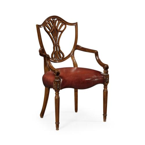 Sheraton Dining Arm Chair with Shield Back in Mahogany High Gloss, Upholstered in Red Leather