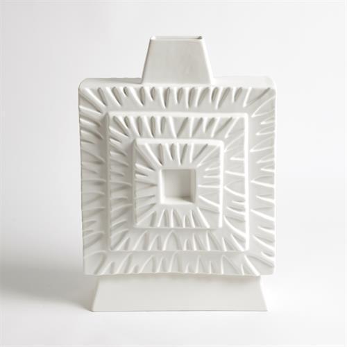 Artisan Square Vase-Matte White-Sm