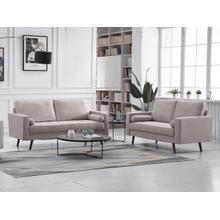 See Details - 8117 2PC BEIGE Linen Stationary Living Room SET