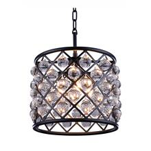 Madison 3 light Matte Black Pendant Clear Royal Cut Crystal