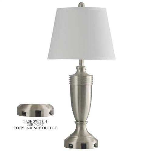 Brushed Steel  Metal Table Lamp with Convenience Outlet USB Port & Base Switch