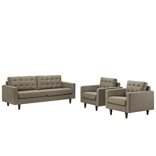 Empress Sofa and Armchairs Set of 3 in Oatmeal