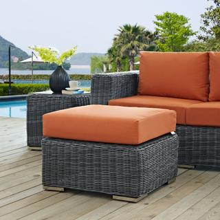 Summon Outdoor Patio Sunbrella® Ottoman in Canvas Tuscan