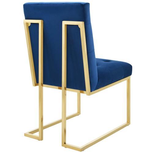 Privy Gold Stainless Steel Performance Velvet Dining Chair in Gold Navy