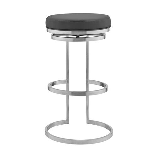 """Vander 30"""" Gray Faux Leather and Brushed Stainless Steel Swivel Bar Stool"""