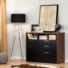 Tasko - Storage Unit with File Drawer, Brown Walnut and Black