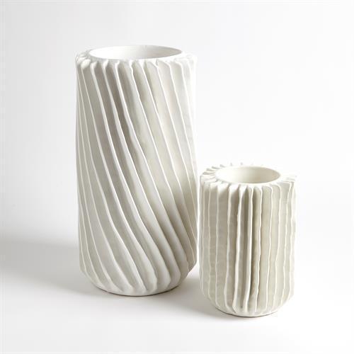 Radiator Swirl Vase-Matte White-Sm