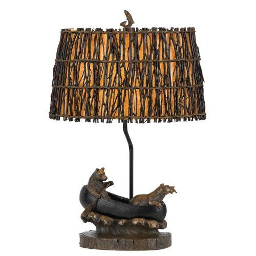 Cal Lighting & Accessories - 150W 3 Way Bear in Canoe Resin Table Lamp
