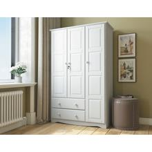 See Details - 5691 - 100% Solid Wood Grand Wardrobe -White