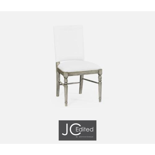 Rustic grey upholstered side chair (COM)