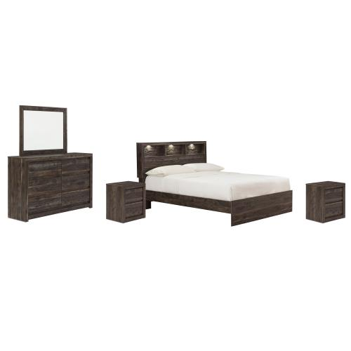 Ashley - Queen Bookcase Panel Bed With Mirrored Dresser and 2 Nightstands