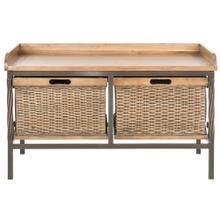 See Details - Noah 2 Drawer Wooden Storage Bench - Antique Pewter / Medoak