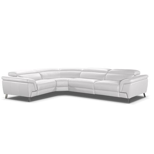Accenti Italia Azur Italian Modern White Leather Sectional w/ Recliner